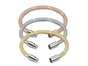 "Set of Three 7.5"" 18K Gold Plated Mesh Bangle Bracelet with Magnetic Clasps and High Quality Crystals by Matashi (Champagne Gold, Rose Gold and White Gold)"