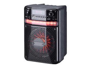 Pyle PWMA447BT Portable Bluetooth Karaoke Speaker System - Digital PA Loudspeaker with Downloadable App, Flashing DJ Lights, Rechargeable Battery, Wired Microphone, FM Radio