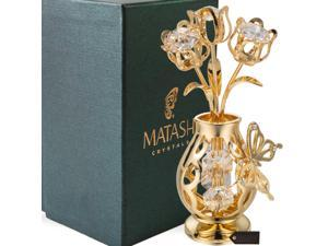 Valentine Gift - 24K Gold Plated Beautifully Crafted Tulips with Butterfly In A Vase Table Top Ornament Made with Genuine Matashi Crystals