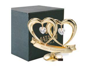"Matashi MCT3230HA - 24k Gold Plated Beautiful ""Happy Anniversary"" Double Heart Table Top Made with Genuine Matashi Crystals"