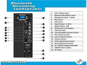 15'' 1200 Watt Powered Two-Way Speaker With MP3/USB/SD/ Bluetooth Music Streaming & Record Music Function w/Remote control