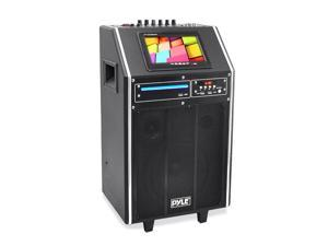 Karaoke Vibe Bluetooth Multimedia PA System with 8'' Woofer, 3'' Tweeter, 7'' Screen, DVD Player, VHF Wireless Microphone, 300 Watt