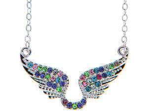 "Rhodium Plated Necklace with Outspread Angel Wings Design with a 16"" Extendable Chain and High Quality Multicolored Crystals by Matashi"