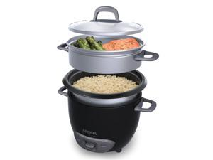 AROMA ARC-743-1NGB 3-Cup (Uncooked)/6-Cup (Cooked) Pot-Style Rice Cooker and Food Steamer, Black