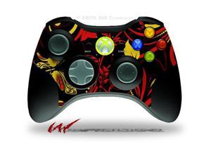 XBOX 360 Wireless Controller Decal Style Skin - Twisted Garden REd and Yellow - CONTROLLER NOT INCLUDED