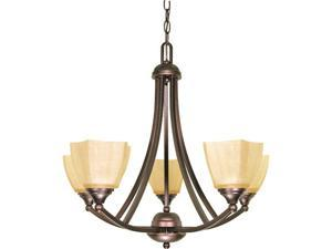 Nuvo Normandy - 5 Light - 25 inch - Chandelier - w/ Champagne Linen Washed Glass