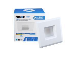 NICOR 3 in. White Square LED Recessed Downlight in 3000K