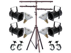 4 Black PAR CAN 38 90w PAR38 Spot C-Clamp 12ft Stand