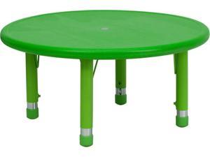 Flash Furniture 33'' Round Height Adjustable Green Plastic Activity Table [YU-YCX-007-2-ROUND-TBL-GREEN-GG]