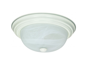 Nuvo 60-2628 2-Lights Flush Mount Ceiling Light in Textured White Finish with Alabaster Mushroom Glass and (2) 13W GU24 Lamps Included