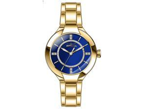 Invicta Women's Angel Quartz Blue Dial Gold Tone Stainless Steel Watch 29323