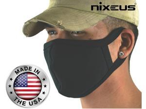 Nixeus Made in the USA Adult Reusable and Washable Black Cloth Face Masks with Filter Pocket (3-Pack)