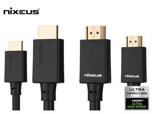 Nixeus (2-Pack) Ultra High Speed HDMI Certified Cable (6.5 ft) – Certified by HDMI to Support HDMI 2.1 Features, 48Gbps, Dynamic HDR, 4K 120Hz/144Hz, 5K 120Hz/144Hz, 8K 120Hz, and 10K 120Hz