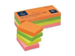 "Business Source Adhesive Notes Plain 1-1/2""x2"" 100 Sh/PD 12PD/PK Neon 16493"