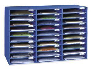 "Pacon Mail Sorter, 1.8"" Height x 12.5"" Width x 10"" Depth - 30 Pocket(s) - Blue"