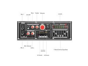 Pyle PSUFM1068BT Disco Jam 2 Bluetooth Active Powered PA Speaker System, Flashing DJ Lights