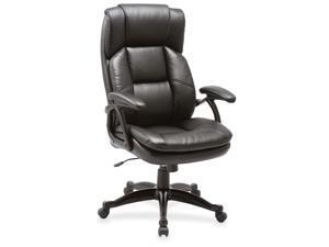 "Lorell Leather Hi-Back Chair 27""x32""x44-1/2"" BK 59535"