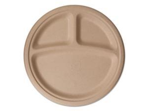 Eco-Products EPPW103 Wheat Straw Dinnerware, 3 Compartment Plate, 10 Inch Diameter, 500/Carton