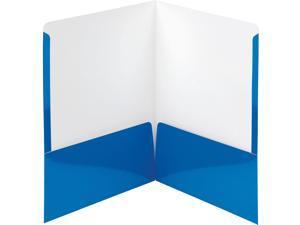 "Smead High-Gloss Two-Pocket Folders - Letter - 8 1/2"" x 11"" Sheet Size - 2 Pocket(s) - Blue - 25 / Box  SMD87875"