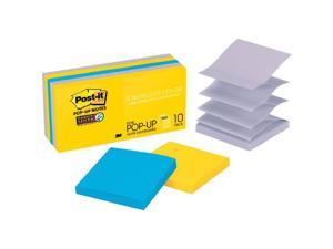 3M R33010SSNY Post-it Super Sticky Pop-up Notes, New York Color Collection, 10 Pads / Pack, 90 Sheets / Pad