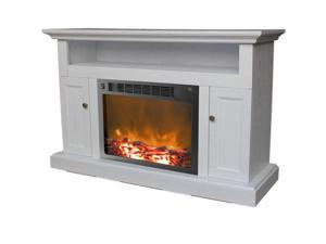 Cambridge Fireplace Mantel with Log Electric Insert, White