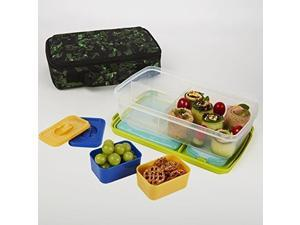 Fit & Fresh 841KFF213 Bento Box Lunch Set with Insulated Carry Bag - Green Jungle