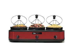 Maxi-Matic EWMST-325R Red 7.5 Qt. 2.5 Qt. Red Triple Slow Cooker Buffet