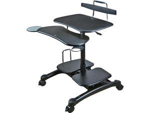 DoubleSight Displays DS-650MC Mobile Desktop Cart with Keyboard Tray 2 Shelves