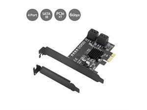 SIIG Dual Profile 4-Channel SATA 6G PCIe Host Card - Serial ATA/600 - PCI Express 2.0 x1 - Plug-in Card - 4 Total SATA Port(s) - PC - TAA Compliant