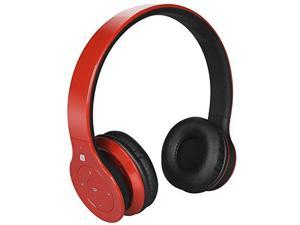 Alpha Digital BH-530-R Bluetooth Headphone with Soft Fit Ear Covers, Built-In Microphone, Red