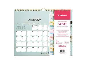 Blueline Romantic Wall Calendar, Floral, 8 x 11, 2020 C172122
