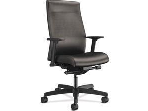 "HON Ignition Adjustable Back Height Task Chair - Vinyl Seat - Vinyl Back - Black Frame - 5-star Base - Black - 27"" Width"