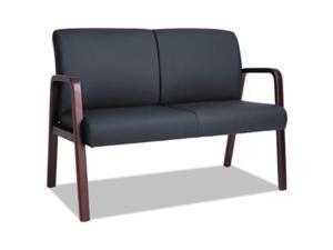 "Alera ALERL2219M Reception Lounge Series Wood Loveseat, 33.00"" x 44.88"" x 26.13"", Black/Mahogany"