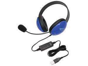 Califone Blue Stereo Headphone w/ Mic, USB Connector Via Ergoguys