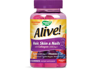 Natures Way Alive! Premium Hair Skin and Nails Multivitamin with Biotin & Collagen 60 Ct