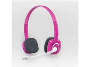 Logicool H150 Wired Stereo Headset w/Boom Microphone Inline Volume/Mute Control & 3.5mm Jacks (Fuchsia Pink)