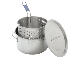 Bayou Classic 14 Quart Stainless Deep Fryer with Perforated Basket and Notc