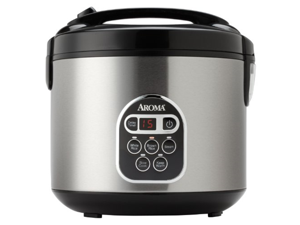 Aroma 20 Cup Cooked (10 cup uncooked) Digital Rice Cooker, Slow Cooker, Food Steamer, SS Exterior (ARC-150SB)