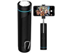 All-in-one Water Resistant Wireless Speaker Selfie Stick Power Bank Flashlight