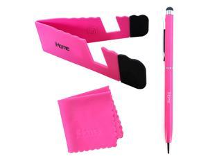 iHome Tablet and Smartphone 3-in-1 Microfiber Cloth, Stylus Pen & Stand Bundle - Pink