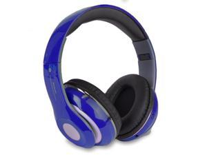 Bluetooth Wireless Headphones with Built In FM Tuner, Memory Card Slot and Mic - Blue