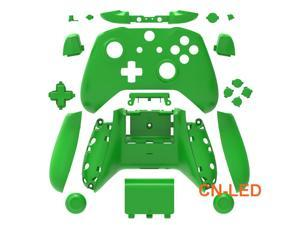 WPS Matte Green Case Housing Full Shell Set Faceplates + ABXY Buttons + RB LB Bumpers + Right/Left Rails for Xbox One S Slim (3.5mm Headphone Jack) Controllers for 1708 version
