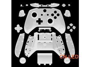 WPS Matte Transparent Clear Case Housing Full Shell Set Faceplates + ABXY Buttons + RB LB Bumpers + Right/Left Rails for Xbox One S Slim (3.5mm Headphone Jack) Controllers for 1708 version