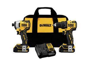 Dewalt DCK278C2 2-Tool Combo Kit - 20V MAX ATOMIC Brushless Cordless Drill Driver & Impact Driver Kit with 2 Batteries (1.3 Ah)