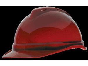 Msa Front Brim Hard Hat, 6 pt. Ratchet Suspension, Red, Hat Size: 6-1/2 to 8