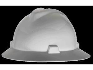 Msa Full Brim Hard Hat, 4 pt. Pinlock Suspension, White, Hat Size: 6-1/2 to 8