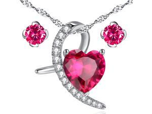 Mabella Created Ruby Heart Cut Moom Shape Sterling Silver Pendant Necklace with Free Earrings Set
