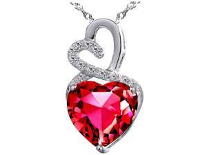 "Mabella 4.0cttw Heart Shaped 10mm Created Ruby Pendant in Sterling Silver with 18"" Chain"