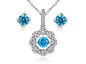 f87081598bd2 Respondían creado topacio azul redondo de plata de ley de forma de flor de  corte bailando