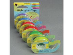 """Removable Highlighter Tape, 1/2"""" X 720"""", Assorted, 6/PK 13888"""